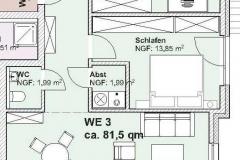 Grundriss Mehrfamilienhaus Neubau Wohnung  DG 1