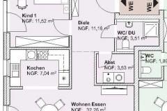 Grundriss Mehrfamilienhaus Neubau Wohnung  DG 2