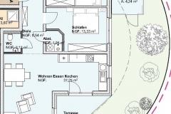 Grundriss Mehrfamilienhaus Neubau Wohnung  EG 1