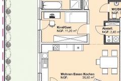 Grundriss Mehrfamilienhaus Neubau Wohnung  EG 2